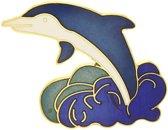 Behave® Broche dolfijn blauw wit emaille