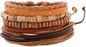 Brede leren armband uit Tibet met houten kralen en touw - bruin en zwart