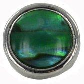 Quiges - Verzilverde Aanschuif Charm Bedel Kunstparel Groen voor Quiges Wikkelarmbanden - EHC206