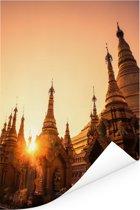 Zonsondergang achter de Pagode in Rangoon Poster 80x120 cm - Foto print op Poster (wanddecoratie woonkamer / slaapkamer) / Aziatische steden Poster