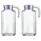 2x Glazen koelkast schenkkannen met afsluitbare dop 1,7 L - Glazen sapkan/limonade kannen