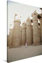Pilaren in de Karnaktempel in Egypte Canvas 120x180 cm - Foto print op Canvas schilderij (Wanddecoratie woonkamer / slaapkamer) XXL / Groot formaat!