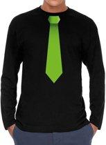Stropdas groen long sleeve t-shirt zwart voor heren- zwart shirt met lange mouwen en stropdas bedrukking voor heren M