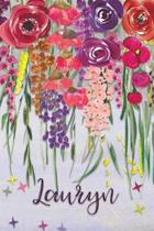 Lauryn: Personalized Lined Journal - Colorful Floral Waterfall (Customized Name Gifts)