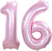 Folie Ballon Cijfer 16 Jaar Roze  86Cm Verjaardag Folieballon Met Rietje