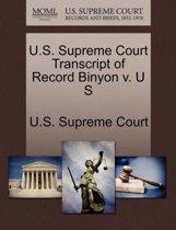 U.S. Supreme Court Transcript of Record Binyon V. U S