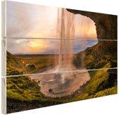 Waterval in IJsland Hout 30x20 cm - klein - Foto print op Hout (Wanddecoratie)