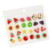 Fako Bijoux® - Oorbellen - Fruit - Acryl - Set - 12 Paar