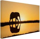 Silhouet olifant bij zonsondergang Canvas 80x60 cm - Foto print op Canvas schilderij (Wanddecoratie)