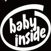Autosticker wit - Baby inside - baby in de auto - babie aan boord - 11,7 x 12,8 - aut115
