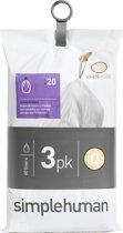 Simplehuman Afvalzak Code Q - Voor Pocket Liners - 50 l - Set van 3 x 20 Stuks