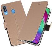 Booktype Wallet Cases Hoesje voor Samsung Galaxy A40 Goud