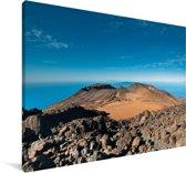 Knalblauwe lucht boven het Nationaal Park Teide in Spanje Canvas 180x120 cm - Foto print op Canvas schilderij (Wanddecoratie woonkamer / slaapkamer) XXL / Groot formaat!