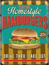 Grote emaille muurplaat Hamburgers 30x40cm