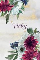 Vicky: Personalized Journal Gift Idea for Women (Burgundy and White Mums)