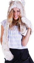 KIMU hood sneeuwpanter muts met sjaal, wanten en oortjes - wit luipaard tijger bont flappen bontmuts capuchonmuts spirit -