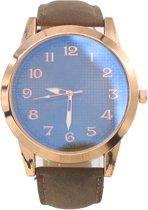 Horloge Dames - Band PU Kunstleer - Kast 50 mm - Quartz - Roségoudkleurig en Bruin - Dielay