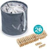 Wasknijper Mandje Met Wasknijpers Set - Wasknijpertas Houder Met Karabijn & 20 Houten Knijpers - Afluitbaar & Ophangbaar