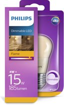 Philips LED Kogel 4W (15W) E27 flame dimbaar