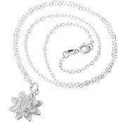 Chique lotus bloem hanger met ketting zilverplating | bruid