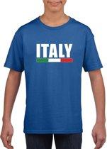 Blauw Italie supporter t-shirt voor heren - Italiaanse vlag shirts M (134-140)