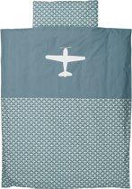 Taftan - Dekbedovertrek - Vliegtuig - 120 x 150 cm - grijs blauw