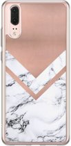 Huawei P20 siliconen hoesje - Rose gold marble