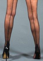 10D. Nylons gloss naad panty kleur zwart van Pretty Polly