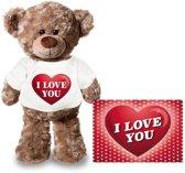 Valentijn - Knuffel teddybeer I love you hartje 24 cm met Valentijnskaart A5 - Valentijn/ romantisch cadeau