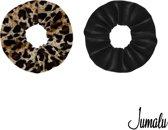 Jumalu scrunchie velvet haarwokkel haarelastiekjes - panterprint en zwart - 2 stuks