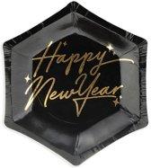 Borden New Year's Eve - Happy New Year, zwart, 12.5 cm (1 zakje met 6 stuks)