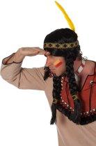 Indianenpruik met lange vlechten