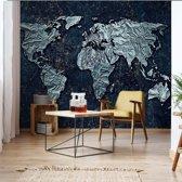 Fotobehang Modern 3D World Map | VEXXL - 312cm x 219cm | 130gr/m2 Vlies