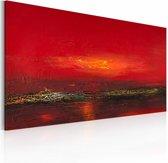 Handgeschilderd schilderij - Zonsondergang  120x60cm