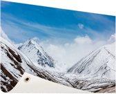Toppen Himalaya in winter Tuinposter 120x80 cm - Tuindoek / Buitencanvas / Schilderijen voor buiten (tuin decoratie)