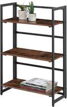 Open Kast Met 3 Legplanken Voor Boeken En Decoratie Inklapbaar Opvouwbare Boekenkast 60x30x93cm Zwart En Vintage Bruin
