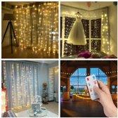LED sterren gordijn kerst - 3 x 3 meter - warm wit - 300 LED