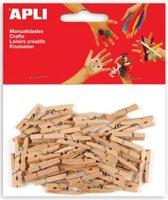 Apli mini wasknijper natuurlijk hout 45 stuks