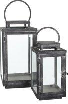 Mica Decorations - Jordan lantaarns zwart metaal set van 2 - Ijzer