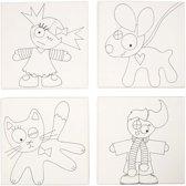 Canvas met print afm 15x15 cm kinderen en huisdieren 4 assorti