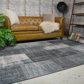 Vintage patchwork vloerkleed Moods 160x230 - Antraciet