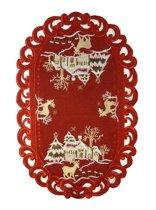 Kerstkleed - Linnenlook - Hert - Rood - Loper 45 cm x 40 cm - 8837