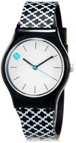 Siliconen meisjes horloges - klavertje 4 - zwart-wit patroon - 35 mm - I-deLuxe verpakking