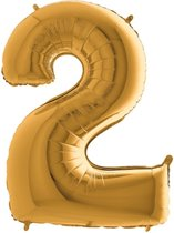 Folieballon cijfer 2 goud (100cm)