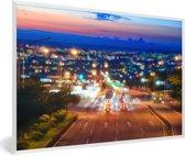 Foto in lijst - Zonsondergang over Taichung in Taiwan fotolijst wit 60x40 cm - Poster in lijst (Wanddecoratie woonkamer / slaapkamer)