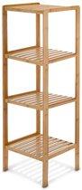 relaxdays Badkamerkast bamboe hout - Stellingkast 4 planken - Badkamer open kast meubel.