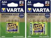 Varta AA oplaadbare batterijen - 4 stuks AA + 4 stuks AAA
