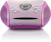 Lenco SCD-24 - Radio CD-speler met MP3 optie en AUX-uitgang - Roze