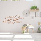 Muurtekst One Life -  Bruin -  120 x 53 cm  - Muursticker4Sale