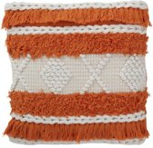 J-Line Kussen Strepen Oranje en Wit 45 x 45